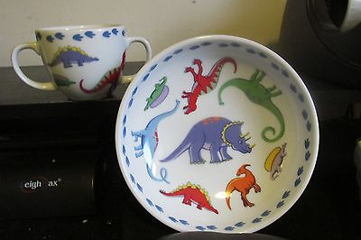 Tiffany & Co Child Porcelain Dinosaur Plate & Cup 2007 Retired Children's Dish