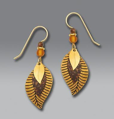 Adajio Earrings 3 Part Autumn Gold, Dark Brown and Gold Plated Leaves Handmade