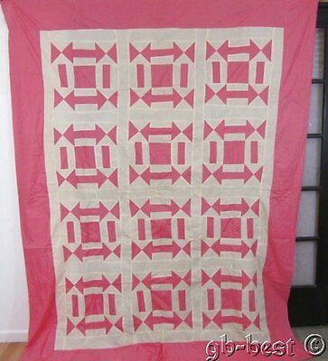 "Delightful 1930s Pink ARROWS Squares Vintage QUILT Top 99 x 75"" LARGE"