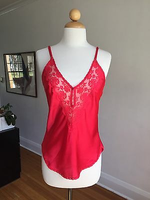 VTG CHANTILLY Maidenform Red Satin & Lace Camisole Lingerie Top Tank SZ 36