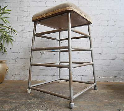 Vintage 50s Mid Century Steel Suede Pommel Horse - Industrial Retail Stand Stool