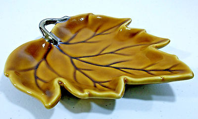 """Tabletops Gallery Honey Maple Leaf 7-1/4"""" Hand Painted Candy Dish Plate"""