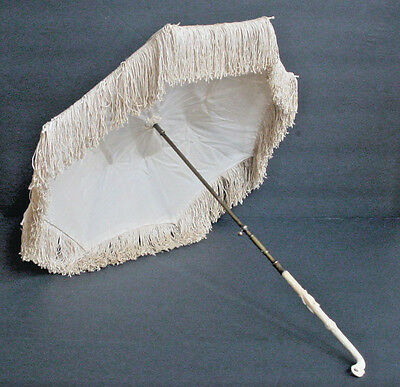 Victorian Mid 19th Century Small Carriage Parasol with Fancy Carved Handle