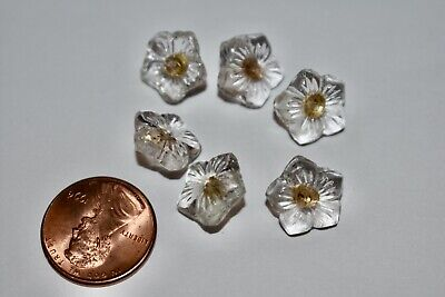 VINTAGE 6 CLEAR GLASS FORGET ME NOT FLOWER BUTTON BUTTONS or BEADS • 15mm
