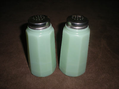 Green Jadite glass salt and pepper shakers set ~ Vintage Kitchen salt & pepper