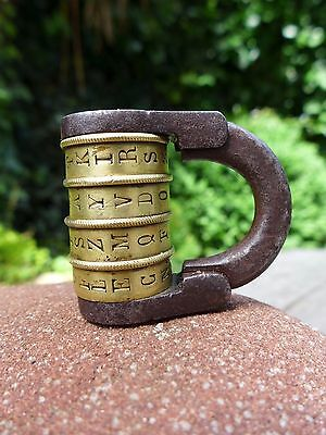 Antique brass combination code 4 letters padlock working order, collector