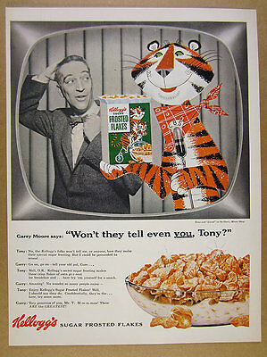 1955 Kellogg's Frosted Flakes Tony the Tiger & Garry Moore CBS vintage print Ad