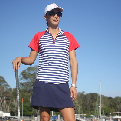 Ladies Golf Outfit - Striped Top with Red &  Navy Skort