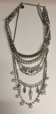 Necklace Fashion Statement Bcbg Macys Silver Tiered Chain Jewel Retail$88 #m160