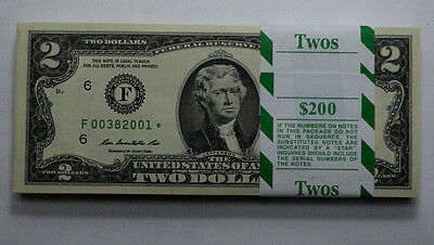 RARE STAR $2 2013*ATLANTA Dollar Bill UNC 100 CONSECUTIVE BDAY NOTE PAPER MONEY