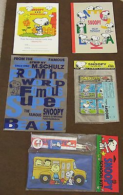 Snoopy Peanuts School Supplies LOT Notebooks/Folder/Pencil Case/Bookcovers NEW