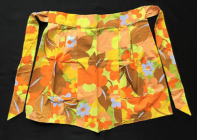 Wabasso 70s Vintage Pleated Apron Yellow & Orange Charmaine Pattern Flower Power