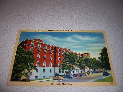 1940s EPWORTH HOSPITAL MAIN STREET VIEW SOUTH BEND INDIANA LINEN POSTCARD