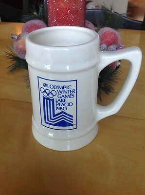 1980 XIII Olympic Winter Games Lake Placid, New York Beer Mug Glass stein cup