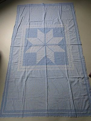 Vintage Retro Embroidered Blue White Gingham Tablecloth Star Design
