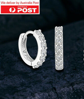 18K White Gold GF Huggie Clear Crystal Earrings MADE WITH SWAROVSKI CRYSTAL