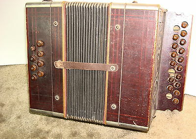 Vintage Hohner 19  Button, 8 Chord Accordion Tight Bellows, Sounds Good A-D Key