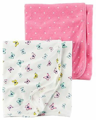 New Carter's Newborn Girl 2 Pack Cotton Swaddle Blankets NWT Pink Butterfly
