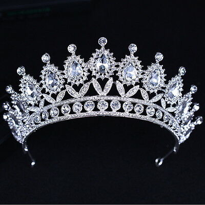 7cm High Large Drip Crystal Leaf Wedding Bridal Party Pageant Prom Tiara Crown