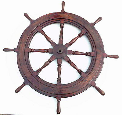 Rare Huge Vintage 50 Inch Charles Shepherd 1910 Ships 8 Spoke Steering Wheel