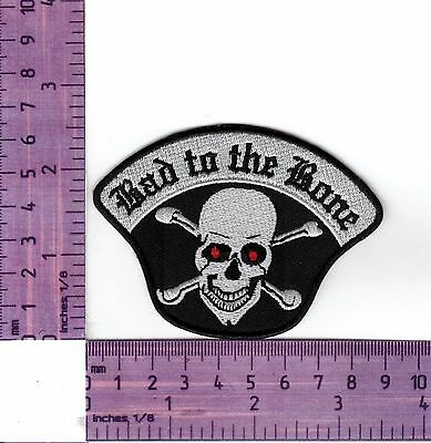 Bad To The Bone Skull & Crossbone Bikers Vest or Jacket Embroidered Cloth Patch