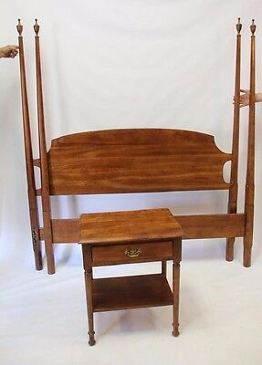 Antique Cherry Stickley Queen Size 4-Post Bed with frame and Nightstand