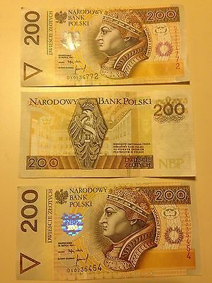 Set Of Three 200 Zloty 1994 Poland Zygmunt Unc
