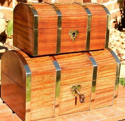 2 Wooden Jewellery Box Treasure Chest Father's Gift Engravable Lock Key 22 18 cm