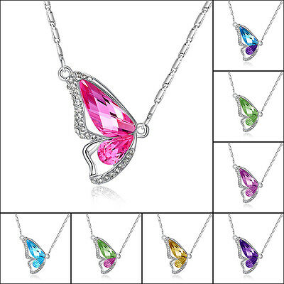 Mystic half butterfly rainbow crystal pendant long chain necklace Womens jewelry