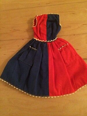 Vintage 1960's Barbie Dress Fancy Free Outfit Red And Blue Dress
