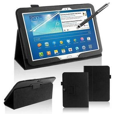 """Leather Stand Case For Samsung Galaxy Tab 3 10.1"""" P5200 P5210 + Screen + Pen"""