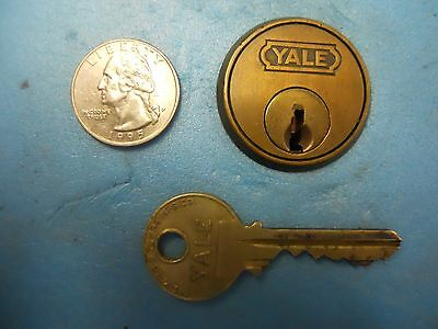 Rare Antique Brass YALE Mortise Cylinder with Key!!