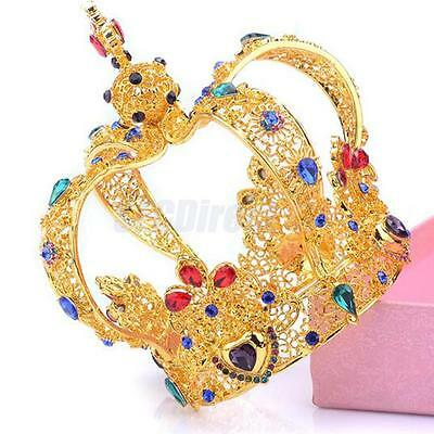Vintage Baroque Queens Gold Crown Tiara Wedding Headpiece Carnival Costume
