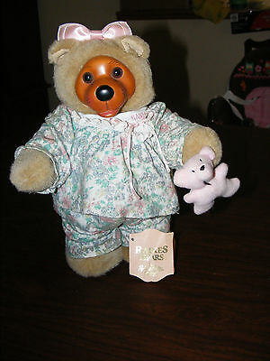 Vintage Robert Raikes Courtney Wood Face and Feet Bear in PJ's & Holding Bear