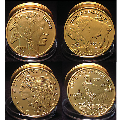 1915 & 2017 INDIAN EAGLE BUFFALO Tribute Proof Coins -  24KT Gold Layered Clad