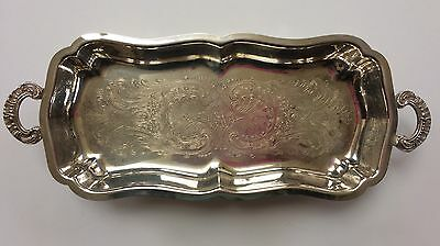 Vintage Silver Plate Rectangle Serving Dish W/Handles and Design Footed