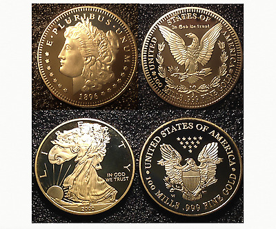 1896 MORGAN & 2000 WALKING LIBERTY DOLLAR Tribute Coins in 24KT Layered Gold