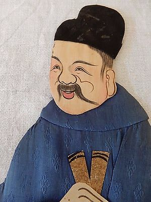 A late 19c/early 20c Chinese painted material relief collage  figure  30 cm  b