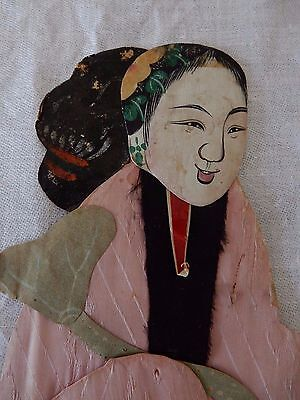 A late 19c/early 20c Chinese painted material relief collage  figure  30 cm  c