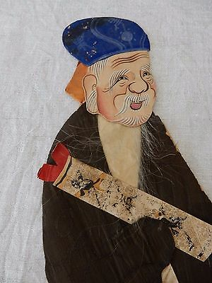 A late 19c/early 20c Chinese painted material relief collage  figure  30 cm  d