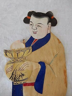 A late 19c/early 20c Chinese painted material relief collage  figure  30 cm  e