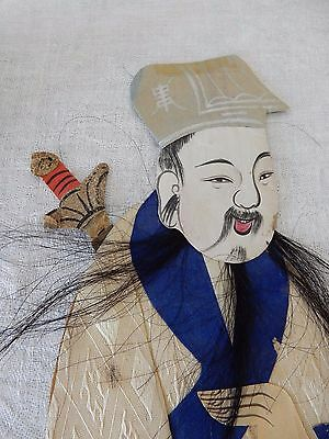 A late 19c/early 20c Chinese painted material relief collage  figure  30 cm  f