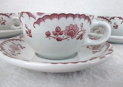 Shenango Restaurant Chardon Rose Cups Saucers Set 6 Red White Vintage 12 Pcs
