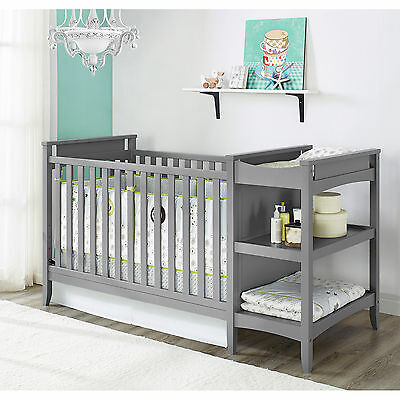 Baby Nursery Furniture Set 2-in-1 Crib And Changing Table, Changer Combo Grey