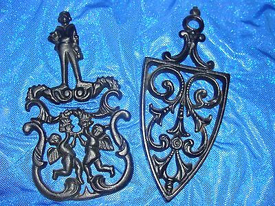 JZH 1955 Cathedral Cast Iron Trivet (#57) AND CUPID 2 PCS