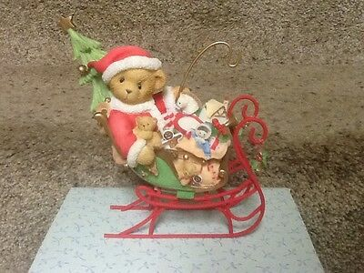Cherished Teddies Santa In Sleigh Signed By Priscilla Hillman And Son New Boxed
