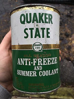 Vintage Quaker State Anti-Freeze 1 Quart Metal Can Full