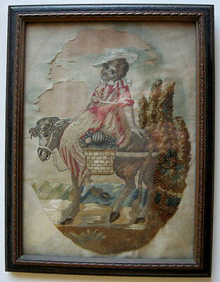 Gem Charming 18th19thc Antique Georgian Silk Embroidery Young girl fruit vendor