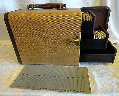 Vintage B&J Barnett & Jaffe Unifile Slide Storage Case Drawers Tweed 110 Slides