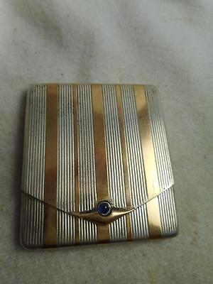 Art Deco Kirby Beard & Co Gold Pl & 900 Silver Hinged Vesta Case W/ Sapphire